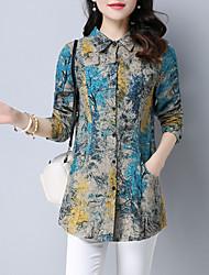 cheap -Women's Daily Plus Size Street chic Shirt,Print Shirt Collar Long Sleeves Linen Medium