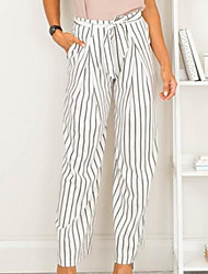 cheap -Women's Mid Rise Micro-elastic Wide Leg Pants,Casual Sexy Striped Color Block Others Summer Fall