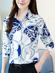 cheap -Women's Daily Street chic Spring Fall Shirt,Print Shirt Collar Long Sleeve Polyester Opaque