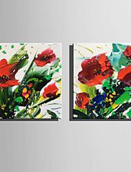 preiswerte -Hang-Ölgemälde Handgemalte - Blumenmuster / Botanisch Rustikal Modern Segeltuch