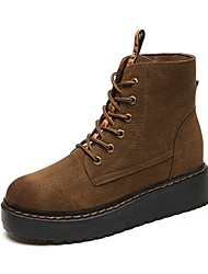 cheap -Women's Shoes Nubuck leather Fall Winter Comfort Fashion Boots Boots Round Toe Closed Toe Mid-Calf Boots Ribbon Tie Lace-up For Casual