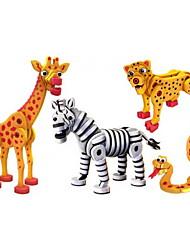 cheap -Building Blocks 4pcs Snake Dinosaur Zebra Animal DIY Outfits Mix & Match Sets Toy Gift