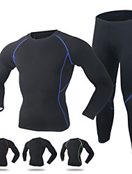 cheap -Men's Long Sleeves Cycling Jersey with Tights - Black Red Green Blue Bike Quick Dry
