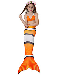 cheap -The Little Mermaid Skirt Bikini Swimwear Kid's Christmas Masquerade Festival / Holiday Halloween Costumes Orange Red Blue Color Block