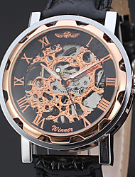 economico -WINNER Per uomo Orologio elegante Orologio da polso orologio meccanico Carica automatica Orologi con incisioni Pelle Banda Lusso Casual