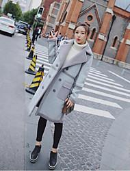 Недорогие -Жен. На выход Пальто с мехом Уличный стиль - Однотонный Крупногабаритные