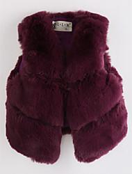 cheap -Girls' Solid Vest, Faux Fur Wine