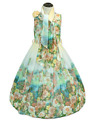 Girl's Holiday Going out Floral Flower/Floral Dress,Cotton Polyester Sleeveless Cute Casual Boho Princess Green