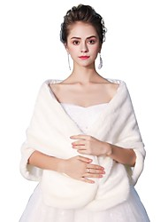 cheap -Sleeveless Faux Fur Wedding Party / Evening Women's Wrap With White Bow Maple Leaf Smooth Shawls