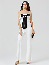 cheap -Jumpsuit Strapless Ankle Length Charmeuse Cocktail Party / Formal Evening / Black Tie Gala / Holiday Dress with Bow(s) Pleats by TS