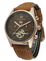 preiswerte -FORSINING Herrn Armbanduhr Modeuhr Armbanduhren für den Alltag Automatikaufzug Kalender Echtes Leder Band Freizeit Cool