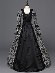 Victorian Rococo Ladies' One Piece Dress Black Cosplay Satin Long Sleeves Floor Length