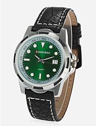 Недорогие -Муж. Модные часы Китайский Кварцевый Календарь Секундомер Защита от влаги Натуральная кожа Группа Кулоны Черный Коричневый