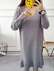 Trapèze Robe Femme Sortie Décontracté / Quotidien Chic de Rue,Couleur Pleine Col en V Au dessus du genou Manches Longues Cachemire Taille