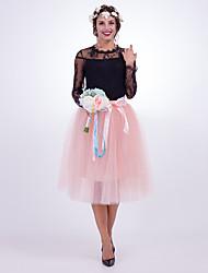 slides saias moda casamento joelho-comprimento nylon chinlon casamento acessórios
