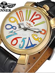 cheap -WINNER Men's Women's Dress Watch Wrist watch Mechanical Watch Automatic self-winding Leather Band Casual Colorful Black