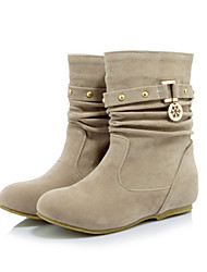 cheap -Women's Shoes Suede Spring / Winter Comfort / Novelty / Fashion Boots Boots Round Toe Booties / Ankle Boots Yellow / Red / Almond