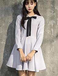 cheap -Women's Going out Sheath Dress,Solid Shirt Collar Above Knee Long Sleeve Polyester Fall High Waist Micro-elastic Thick