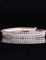 cheap -Women's Rhinestone Pearl Cubic Zirconia Rose Gold Plated Tennis Bracelet - Rose Gold Bracelet For Wedding Evening Party