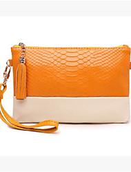 economico -Da donna Sacchetti PU (Poliuretano) Pochette Cerniera per Casual Tutte le stagioni Arancione Rosso Giallo Verde scuro Royal Blue