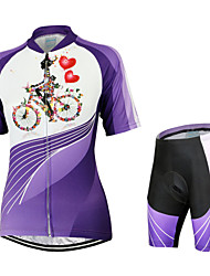 cheap -Arsuxeo Women's Short Sleeves Cycling Jersey with Shorts Floral / Botanical Bike Shorts Jersey Clothing Suits, Quick Dry, Anatomic