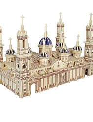 cheap -3D Puzzle Jigsaw Puzzle Wood Model Model Building Kit Houses Fashion Plaza del Pilar Pilar Cathedral Classic Fashion New Design Kids Hot