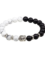 cheap -Men's Strand Bracelet Onyx Multi-stone Asian Classic Agate Circle Jewelry Evening Party Going out Costume Jewelry Gold White Black Brown