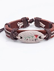 Women's Bracelet Lovely Ethnic China Leather Circle Jewelry For School Street