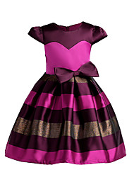 Girl's Holiday Going out Striped Dress,Polyester Summer Fall Short Sleeves Cute Princess Blushing Pink Fuchsia