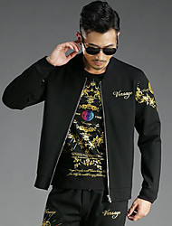 Men's Daily Simple Casual Winter Fall Jacket,Print Regular Cotton Nylon Spandex