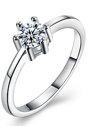 baratos -Mulheres Anel de banda Cristal 1 Prata Zircão Liga Formato Circular Clássico Fashion Casamento Festa Aniversário Noivado Presente Diário