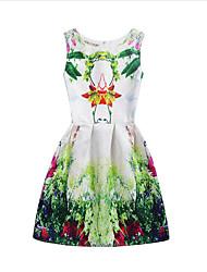 abordables -Robe Fille de Anniversaire Sortie Fleur arbres/Feuilles Jacquard Coton Polyester Sans Manches Mignon Décontracté Princesse Vert