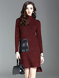 abordables -Mujer Punto Vestido Casual/Diario Noche Un Color Escote Chino Hasta la Rodilla Manga Larga Lana Otoño Invierno Media cintura Elástico