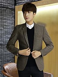 cheap -Men's Work Simple Casual Winter Fall Blazer,Solid Shirt Collar Long Sleeves Regular Linen Polyester