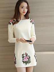 cheap -Women's Daily Casual Bodycon Sheath Dress,Solid Embroidered Round Neck Above Knee Long Sleeves Polyester Fall/Autumn Spring, Fall,