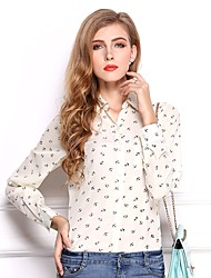 cheap -Women's Daily Wear Work Street chic All Seasons Shirt,Print Rivet Shirt Collar Long Sleeves Polyester