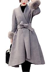 Cappotto di pelliccia Da donna Casual Taglie forti Semplice Inverno,Tinta unita Bavero sciallato Cashmere Nylon Lungo Manica lunga