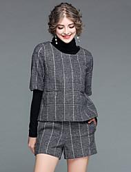 Feminino Suéter Calça Conjuntos Para Noite Casual Moda de Rua Outono Inverno,Xadrez Poliéster Manga Longa > 75%