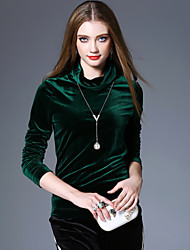 economico -T-shirt Per donna Vintage Boho Tinta unita A collo alto