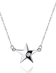 cheap -Women's Star Zircon Silver Pendant Necklace  -  Basic Silver Necklace For Formal Office & Career