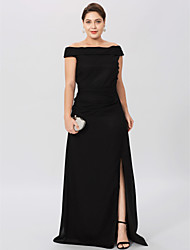 cheap -Sheath / Column Off Shoulder Floor Length Chiffon Mother of the Bride Dress with Pleats Split Front by LAN TING BRIDE®