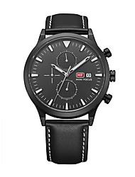 Недорогие -Муж. Модные часы Кварцевый Календарь Защита от влаги Кожа Группа На каждый день Черный Коричневый