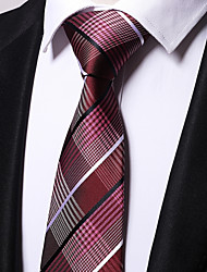 cheap -Men's Polyester Necktie,Work Casual Striped All Seasons Wine