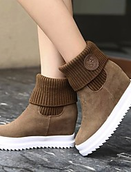 Women's Shoes PU Fall Winter Comfort Boots Flat Heel Round Toe For Casual Black Red Light Brown