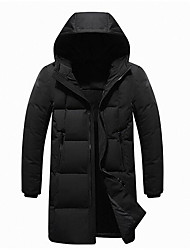 cheap -Men's Down Coat,Casual Daily Wear Solid-Polyester Long Sleeves