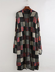 cheap -Women's Holiday Long Sleeves Long Cardigan - Plaid