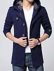 Men's Daily Simple Casual Winter Trench Coat,Solid Round Neck Long Sleeves Regular Cotton Acrylic Buckle