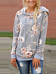 cheap -Women's Daily Holiday Vintage Boho Hoodie Print Color Block Hooded Without Lining Polyester Long Sleeves Spring/Fall