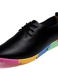 Недорогие -Жен. Обувь Кожа Весна / Осень Удобная обувь Туфли на шнуровке На плоской подошве Круглый носок Черный / Оранжевый / Синий