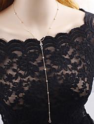 abordables -Mujer Cristal Collares de cadena - Gota Simple, Elegante Dorado, Plata Gargantillas Para Fiesta, Regalo, Fiesta de baile